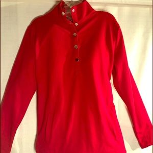 Red Long Sleeve Top w/ Silver press buttons XS